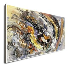 Amazon.com: Hand Painted Textured 3D Large Wall D¨¦cor Canvas Long Canvas Wall Art Vertical Orange And Grey Artwork Abstract Wall Art Abstract Landscape Painting Abstract Watercolor: Handmade