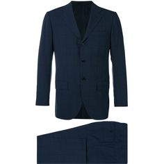 Kiton Two Piece Check Suit ($3,356) ❤ liked on Polyvore featuring men's fashion, men's clothing, men's suits, mens blue slim fit suit, mens blue suit, mens wool suits, men's 2 piece suits and mens slim suits
