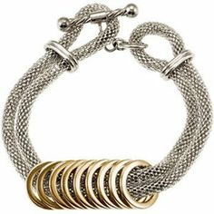 Amalfi Stainless Steel Mesh with Gold Immersion Plated Circles Women's Bracelet Body Candy. $70.63