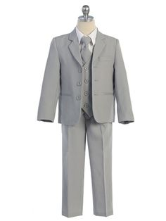 Boys 5 piece tan suit from Kids Formal Toddler Suits, Toddler Dress, Boys Formal Wear, Light Grey Suits, Vest And Tie, Boys Suits, Special Dresses, Formal Dresses, 3 Piece Suits