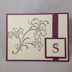 Monogrammed Card Set Hand Stamped / Set of 4