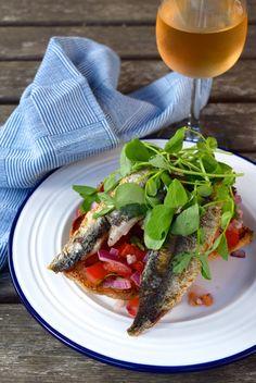 Sardine and Pea Shoot Bruschetta | www.rachelphipps.com @rachelphipps