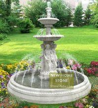 Fontes de água do jardim ao ar livre fontes de figuras estátuas de mármore branco esculpido com mármore grande piscina(China (Mainland))