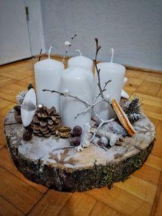 Drevený adventný veniec, biely Christmas Crafts, Xmas, Advent, Candle Holders, Diy Crafts, Candles, Christmas, Navidad, Xmas Crafts