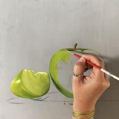 Still Life Drawing, Still Life Oil Painting, Cherry Blossom Art, Fruits Drawing, Landscape Sketch, Still Life Fruit, Watercolor Painting Techniques, Granny Smith, Fruit Art
