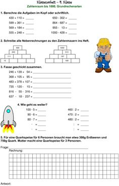 Klassenarbeit zu Zahlenraum bis 1000