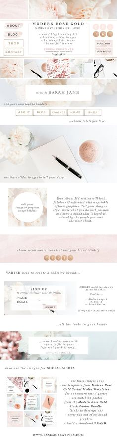 Modern Rose Gold Web Blog Brand Kit by Essem Creatives on @creativemarket , (affiliate)