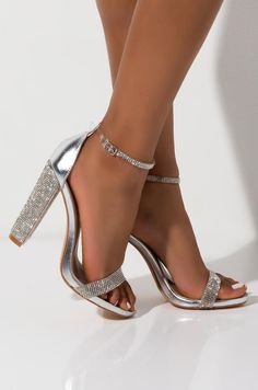 Silver Heels Prom, High Heels For Prom, Prom Heels, Silver Sandals, Shoes For Prom, Silver Chunky Heels, Silver Block Heels, Silver Sparkly Heels, Silver Strappy Heels