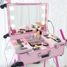 Music Led Lights Cosmetic Case Mirror Trolley Caster Support Aluminum Makeup Artist Makeup Korea Pink Black