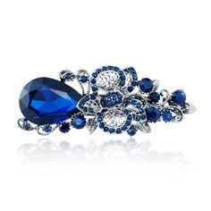 Femmes de Big Blue Crystal Fleur Épingle À Cheveux Barrette Chapeaux Barrette Strass Cheveux Accessoires Pour Femme Filles F111