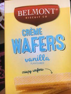 Belmont Creme Wafers. Limit flavoured biscuits. 1-2. Vanilla Flavoring, Biscuits, Diet, Food, Crack Crackers, Cookies, Essen, Biscuit, Meals