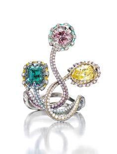 Wallace Chan. A Colored Diamond, Emerald and Diamond Ring, by Wallace Chan.   Available at FD. www.fd-inspired.com