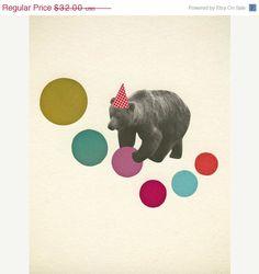 SALE Bear wall art  whimsical colorful retro nursery by VioletMay, $22.40