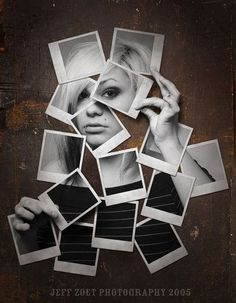polaroid - pictures taken of different facial features combined to show the woman: