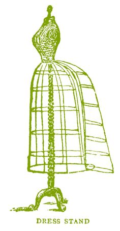 Vintage Images - Antique Wire Dress Form with Bustle - The Graphics Fairy