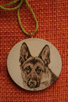 "Items similar to Pyrography on a wooden slice - ""Dog portrait"" - German Shepherd - Wood burning - Home/Wall/Furniture Decoration or Pendant on Etsy Dremel Carving, Wooden Slices, Jewellery Designs, Dog Portraits, German Shepherds, Pyrography, Wood Burning, Furniture Decor, Wood Projects"
