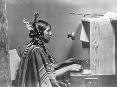 Female Indian telephone switchboard operator, Helen of Many Glacier Hotel, June 1925.