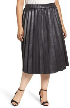 27e37f1713f Plus Size Women s Lost Ink Coated Jersey Pleated Skirt