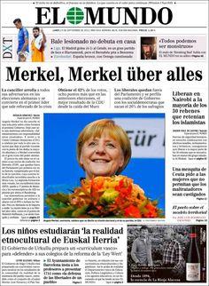 Lunes, 23 de septiembre de 2013. El periódico 'El Mundo' titula su portada en alemán. ¿Motivo? La victoria de Angel Merkel en las elecciones del país germano. Los comentarios no se hacen esperar en redes sociales...