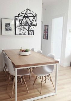 Creating small dining rooms can sometimes be a trouble. Today, Modern Dining Tables has selected 10 small dining table ideas you gonna love. Dining Room Design, Dining Room Table, Small Dining Table Apartment, Dining Sets, Simple Dining Table, Dining Decor, Kitchen Tables, Ikea Dinning Room, Small White Dining Table