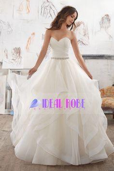 2017 robes de mariée Sweetheart ligne Froncé corsage avec des perles en organza