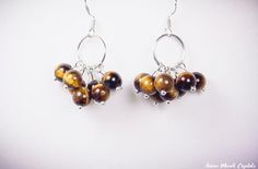Tiger eye earrings Stone Cluster Earrings by AnimaMundiCrystals