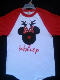 Mickey/Minnie Mouse Christmas Redindeer Shirt comes with only one baseball tee shirt.    Price is set for 1 only.
