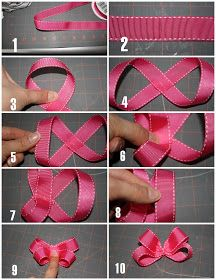little bow tutorial Mais little bow tutorial. I'll need this to make my fascinator for the KY Derby! Here& the tutorial for making the bows I posted earlier. It would have just been a million photos to upload. Bow making method step by step Looks pretty s Diy Bow, Diy Ribbon, Ribbon Work, Ribbon Crafts, Making Hair Bows, Diy Hair Bows, Ribbon Hair Bows, Bow Making, Hair Bow Tutorial