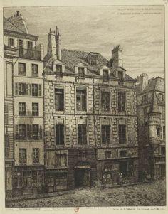 Rue de la Tixeranderie : Maison dite de Scarron | Dessin par A. Potémont d'ap. l'original app. t à la Ville