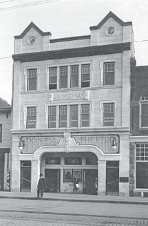 Not only a building to see but there's also a movie to be seen there -Princess Theatre, Edmonton, Alberta, 1915.