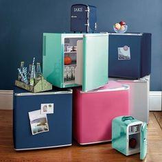 Get a colorful dorm-sized fridge for under your desk.