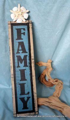 Family sign sea shell decor_Family wall sign_beach decor