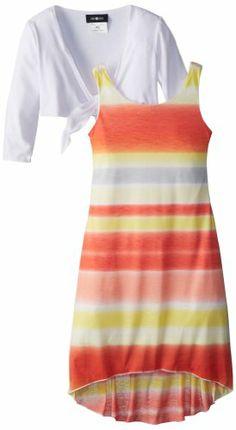 Amy Byer Girls 7-16 Stripe Twofer Dress, Orange/Yellow, Large Knit hi low. With shrug.  #Amy_Byer #Apparel
