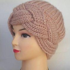 Winter knitted women's beret – Winter Outfits – Harika El işleri-Hobiler Knitted Beret, Knitted Headband, Crochet Hats, Winter Knit Hats, Winter Hats For Women, Women Hats, Knitting Stitches, Baby Knitting, Knitting Yarn
