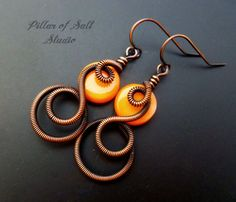 Hey, I found this really awesome Etsy listing at https://www.etsy.com/ca/listing/179874899/wire-wrapped-earrings-orange-mother-of
