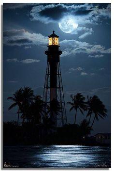 Hillsboro Lighthouse Moonrise, Florida