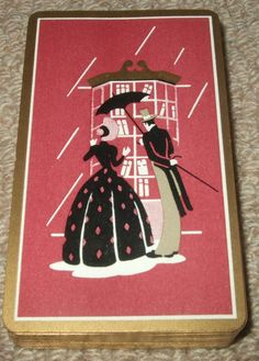 "CRINOLINE LADY - VINTAGE 1950's PACK OF ""SOCIETY SLENDER"" PLAYING CARDS - RED #ThomasDeLaRue"