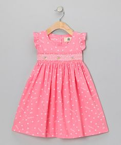 Take a look at this Lil Cactus Pink Heart Dress - Infant & Toddler on zulily today! Crafted with gathered sleeves, a Peter Pan collar and wide flowing skirt, this sweetly smocked frock offers an angelic look that's picture-perfect. Frock Patterns, Baby Dress Patterns, Baby Clothes Patterns, Little Dresses, Little Girl Dresses, Girls Dresses, Summer Dresses, Fashion Kids, Girl Fashion