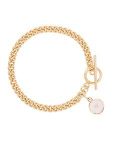 Gold Curb Link Bracelet With Cream Enamel Disc Plain Gold Bangles, Gold Plated Bracelets, Silver Bangles, Sterling Silver Bracelets, Eternity Bracelet, Chunky Jewelry, Modern Jewelry, Link Bracelets, Swarovski