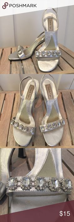Formal silver high heels Size 8 silver high heels with rhinestones. Formal shoes perfect for prom or formal dress event. Worn twice. Excellent used condition. Touch Ups Shoes Heels