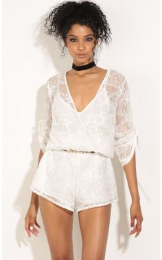 Rompers/Jumpsuits > Sheer Floral Wrap Romper In White