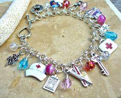 Registered Nurse Charm Bracelet by KipajiPraiseJewelry on Etsy, $30.00