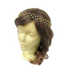 Gold Metal Chain Rhinestone Headband Gold Greek by curtainroad