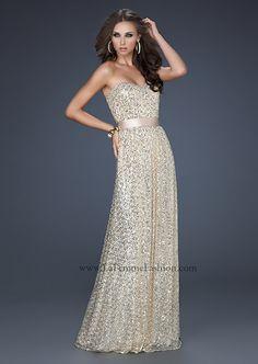 Bella Boutique :: *Dresses :: Prom Dresses :: Gold Prom Dresses :: La Femme 17059