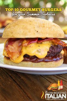 TSRI's Barbecue Bacon Beer Cheddar Smokehouse Burger is our all time burger recipe. It is a sensationally smoky burger loaded with homemade barbecue sauce and beer cheese sauce.you are going to flip your lid over this burger! Gourmet Burgers, Burger Recipes, Grilling Recipes, Beef Recipes, Cooking Recipes, Barbecue Recipes, Pasta Recipes, Burger And Fries, Beef Burgers
