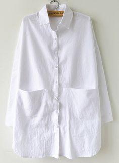 White Long Sleeve Pocket Lapel Loose Blouse US$34.10