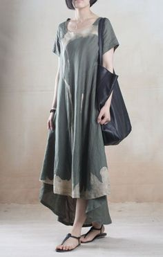 Linen Dress with Batik Print in Green: