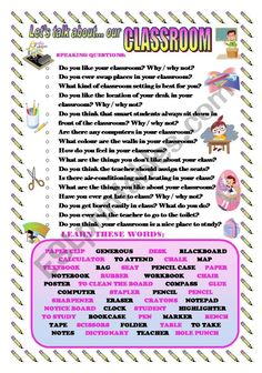 I prepared a new worksheet to make students talk about the topic of OUR CLASSROOM. They can ask and answer the questions in pairs or the teacher can make the questions to the whole class as a warming up activity. Students have to learn some words related to this topic. English Teaching Materials, English Teaching Resources, English Worksheets For Kids, English Activities, Writing Activities, English Conversation Learning, Conversation Topics, Learn English Words, English Lessons