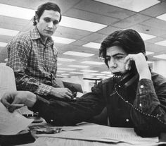 Bob Woodward & Carl Bernstein, the reporters who uncovered the political dirty tricks and crimes which led to the Watergate scandal and the resignation of Richard Nixon.