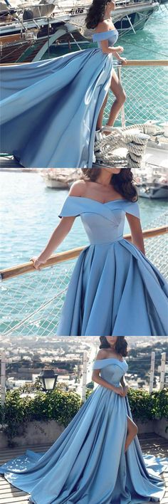 Charming Long Off The Shoulder Blue Prom Dresses,Princess Dresses,Simple Elegant Prom Gowns  #promdresss #promdress #promdresses2018 #bluepromdresses #offtheshoulderpromdresses #satin #eveningdresses #simple #heap #elegant #graduationdresses #partydresses #fashion #charming #affordable  #beautiful